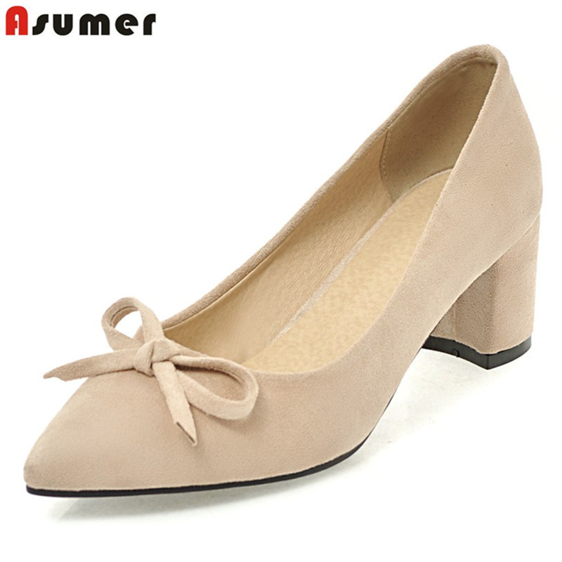 ASUMER Big size 34-43 sexy high heels pointed toe pumps women shoes fashion solid color summer thick heel wedding shoes lin king fashion lace up women square heel pumps solid flock high heel shoes summer pointed toe office career shoes big size 43