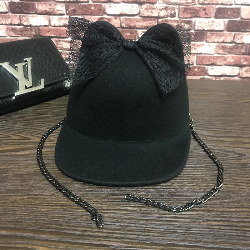 Wool, the new bud silk bowknot bear  baseball cap fashion female equestrian cap hat personality