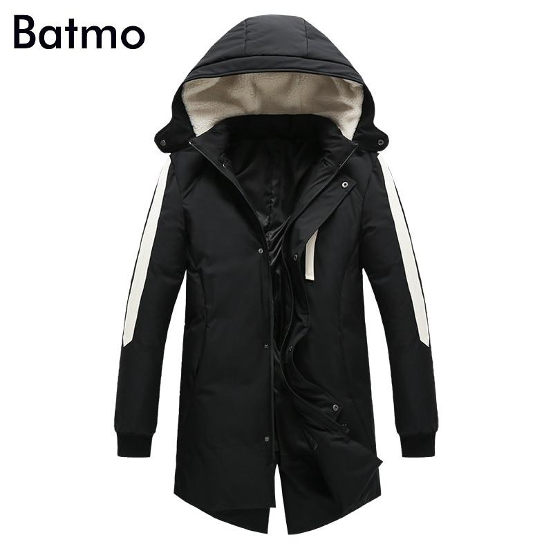 Batmo 2017 new arrival high quality white 80% duck down warm Cashmere hooded jacket men,winter coat men,plus-size M-3XL B38