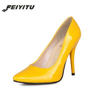 feiyitu patent PU leather woman thin high heels colorful yellow green stiletto office lady pumps women shoes big size
