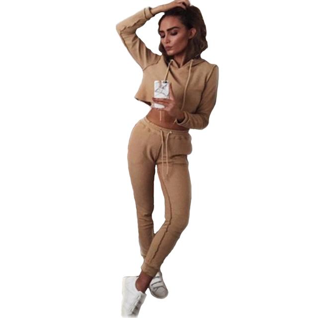 2017 Nueva Moda de Otoño E Invierno de Color Sólido Camisetas de Manga Larga Lápiz Pantalones Cortos de Las Mujeres Suéter Encapuchado ocasional Del Juego