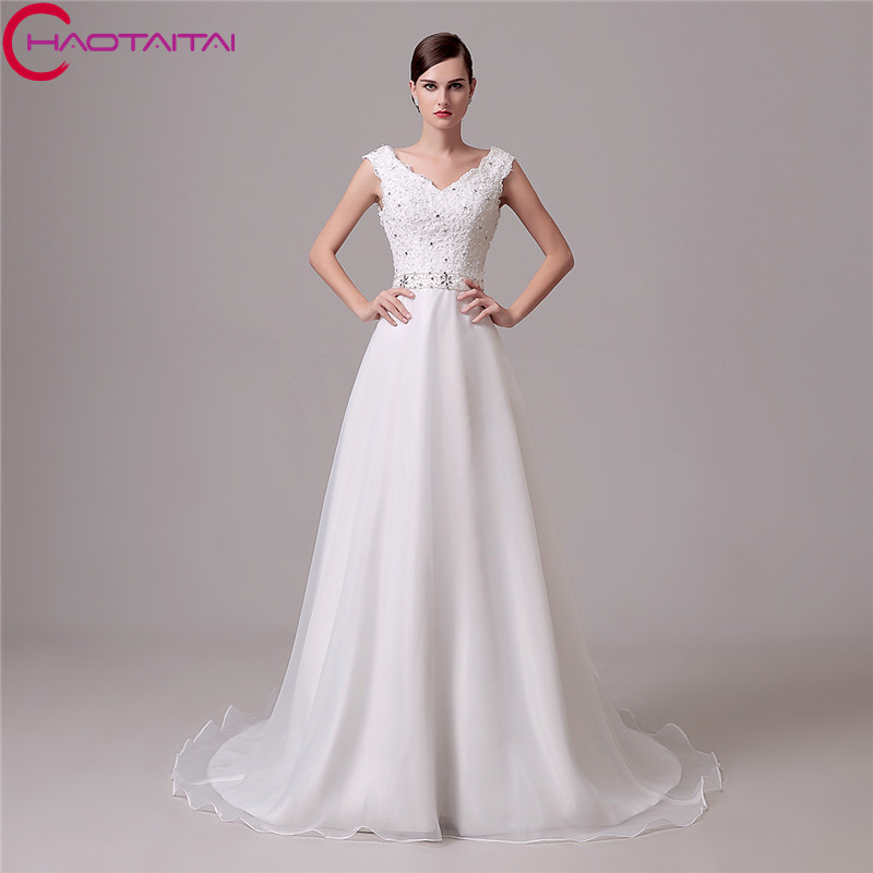 3e502dce5535 2018 Fashionable Exquisite V-neck A-Line Wedding Dresses Sleeveless With  Zip Back 100
