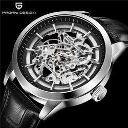 PAGANI projekt luksusowe męska biznes zegarek mechaniczny zegarek skórzany Skeleton Hollow zegar wodoodporny mężczyźni mężczyzna automatyczny zegarek mechaniczny|Zegarki mechaniczne|   -