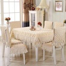 Elegante 13 teile/satz Rechteckige Tischdecke Set mit Stuhlhussen Tischtuch für Hochzeitsdekoration Spitze-tabellenabdeckungs Tischdecken