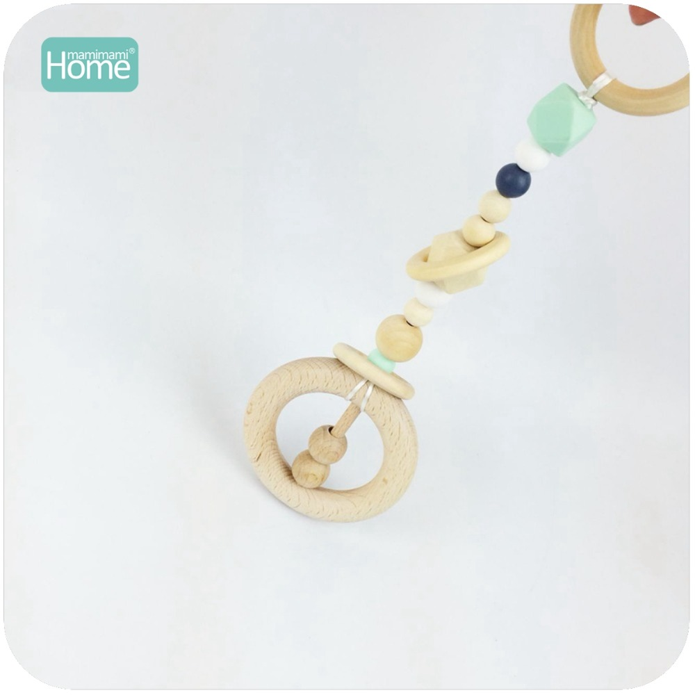 MamimamiHome Baby Rattle Security Handmade DIY Hand Catenary Can Chew Montessori Play Gym Toys For Children Baby Wooden Toys