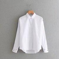 Chu Mark Women Classical White Blouse Turn Down Collar Pearls Beading Ladies Blusas Office Lady Work