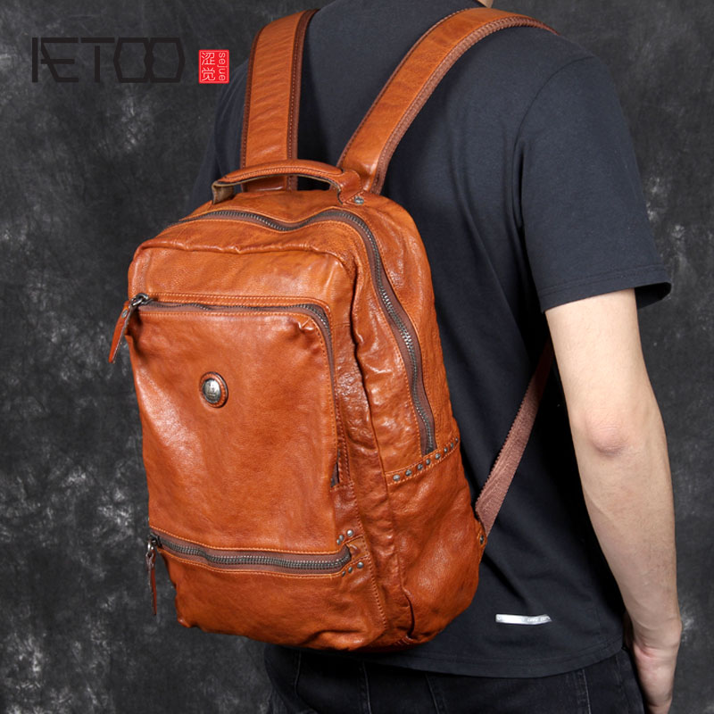 AETOO Vintage Italian Vegetable Tanned Leather Backpack Men's First Layer Leather Backpack Original Handmade Leather Casual aetoo spring and summer new leather handmade handmade first layer of planted tanned leather retro bag backpack bag