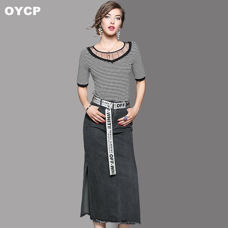 Femmes Denim Oycp 2018 Fente Top Jupe Longue Same Pièces Haute T Shirts As Picture Dentelle Rayé Ensemble Deux SttwqrP