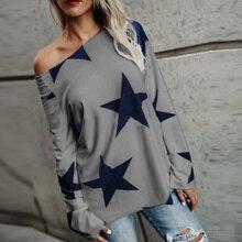 Fashion Autumn Winter Women Long Sleeve T-Shirt O Neck Stars Printing Tops