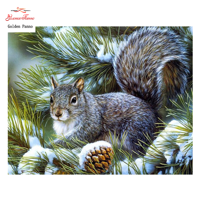 Golden Panno,DIY Needlework Counted Cross Stitch Set Embroidery Kit 14CT 11CT Animal Squirrel Pattern Cross-stitch 08