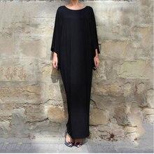 plus size M~XXL New arab Elegant Loose Abaya Kaftan Islamic Fashion Muslim Dress Clothing Design Women Back dubai abaya