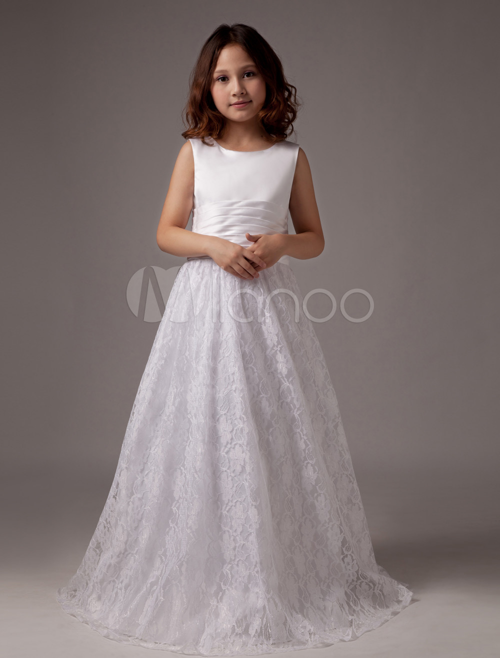 Long Flower Girls Dresses For Wedding Gowns Ankle-Length Mother Daughter Dresses Lace Glitz Pageant Dresses for Little Girls