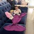 Niños de los cabritos de Punto Adultos Niños Mermaid Tail Cocoon Knit Lapghan manta de Bebé niño niña pequeña Manta para bebé Grande para niños