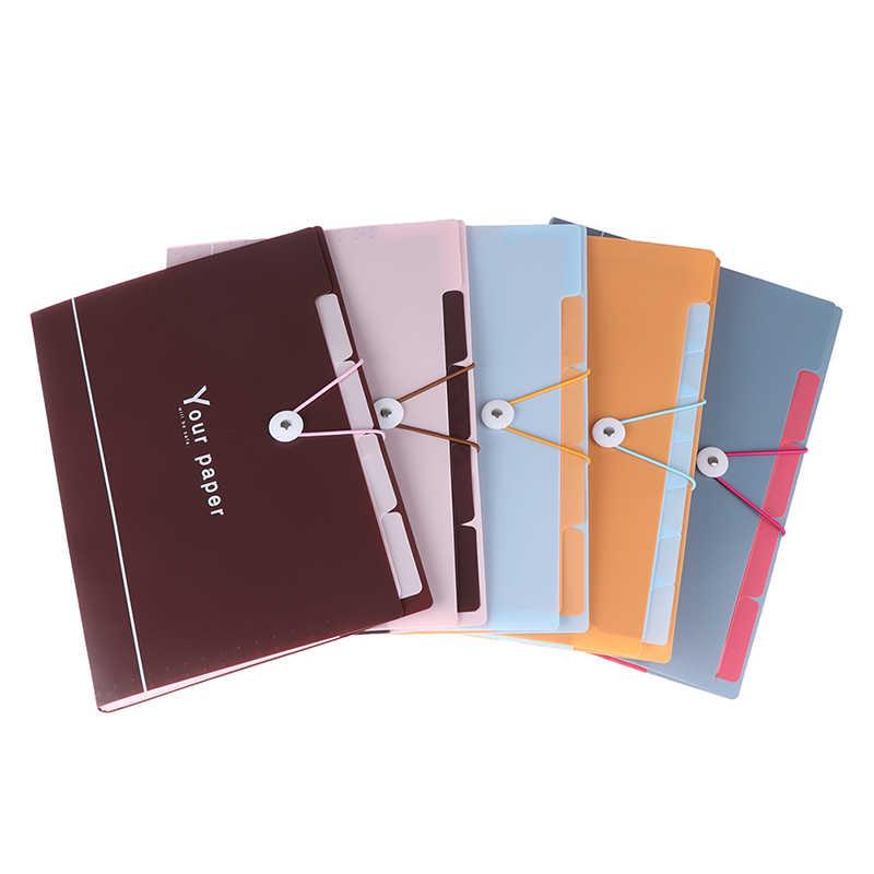 Nuevo 5 cuadrícula bolsa de documentos carpeta de archivos Cartera de expansión bolsa portátil A4 organizador de papel titular de oficina suministros escolares