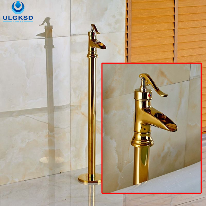 Ulgksd Wholesale and Retail Golden Bathtub Tub Faucet Waterfall Tub Filler Bathroom Faucet Single Handle Mixer Tap Black Brass luxury golden brass bathtub mixer faucet taps widespread single handle waterfall tub filler