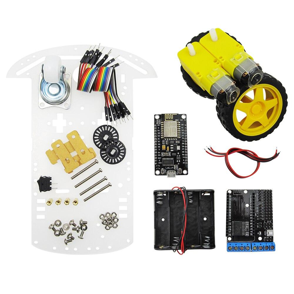 2wd rc wifi smart car kit L293D by ESP-12E for esp8266 esp 12e diy rc toy remote control by phone Lua nodeMCU+motor shield+car