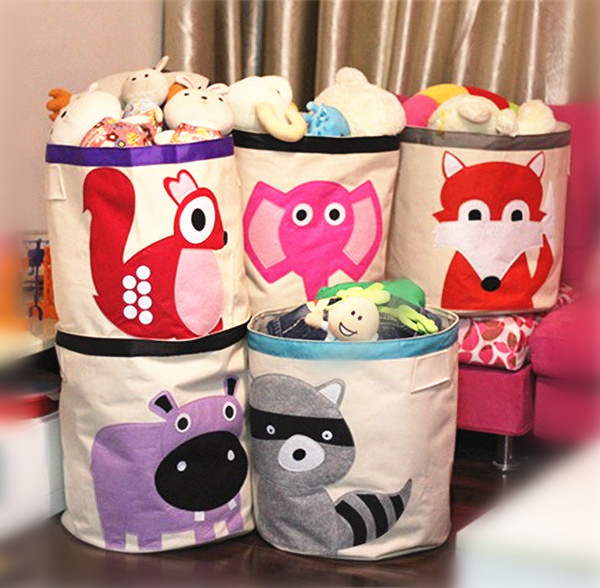Cotton Canvas Baby Storage Baskets Animal Cartoon Storage Bin Baby