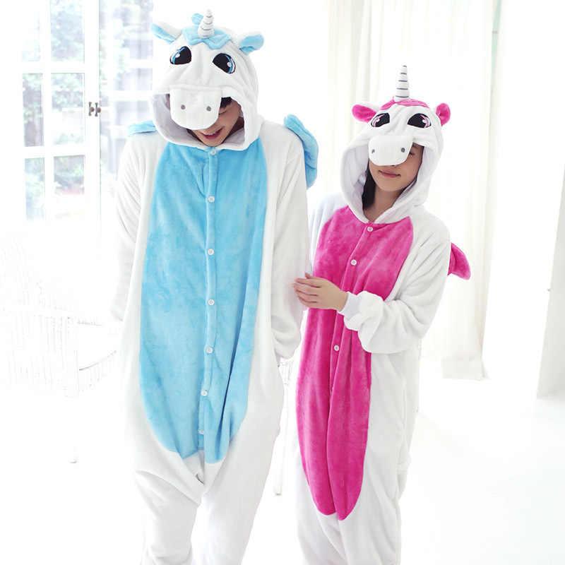נשים Kigurumi Unicorn פיג 'מה סטי פלנל חמוד בעלי החיים פיג' מה ערכות נשים חורף unicornio כתנות פיג הלבשת Homewear