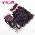 Indian Water Wave Virgin Hair With Closure 3pcs lot Indian Curly Virgin Hair With Closure Raw Indian Hair No Shedding No Tangle