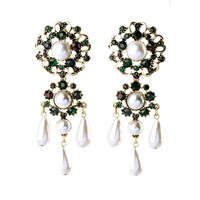 European And American Fashion Jewelry China Factory Wholesale Abstract Floral Motifs Freshwater Pearl Earrings For Women