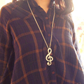 2016 New Hot Women Chic rhinestone rhythm music note suspension sweater long chain necklace gold and silver color N122