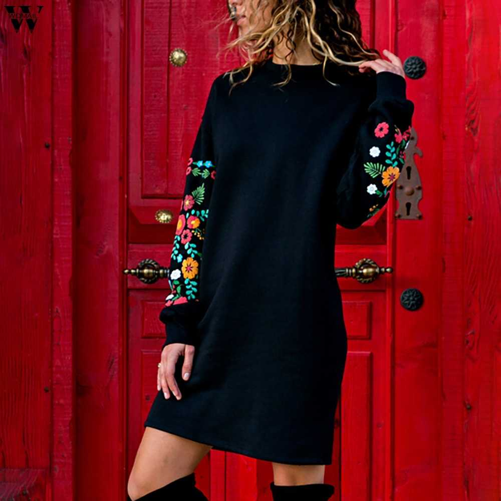 Womail Herfst 2018 Winter Jurken Vrouwen Casual Lange Mouwen Bloemen Borduren Sweatshirt Jurk Party Wear Korte Jurken Nov5