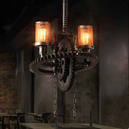 Nordic Loft Style Pendant Lights Wood Gear Iron Hanglamp Droplight E27*2 Fixtures For Home Lightings Cafe Bar Lamparas Colgantes creative iron loft style pendant light glass droplight concise hanglamp fixtures for home lightings bar cafe lamparas colgantes