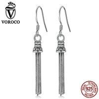 VOROCO Solid 100 Sterling Silver 925 Tassel Stud Earring For Women Luxury Punk Vintage Retro Brinco