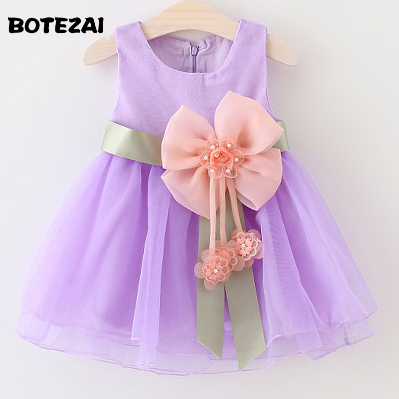 2017 Summer Baby Girls Dresses Princess Bow Weddings Dress Kids Birthday Party Costume Children's Clothing For 0-3Y baby girls flower dresses for weddings enfants party dress sweet princess one piece elsa costume sleeveless o neck 5 colors