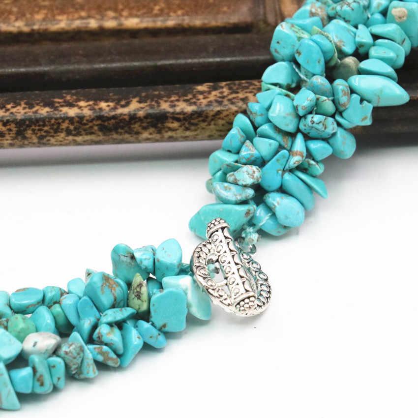 "Estilo vintage turquesa calaite pedra grânulos colar chip irregular 5-7mm fashion statement feminino torque corrente jóias 18 ""a440"