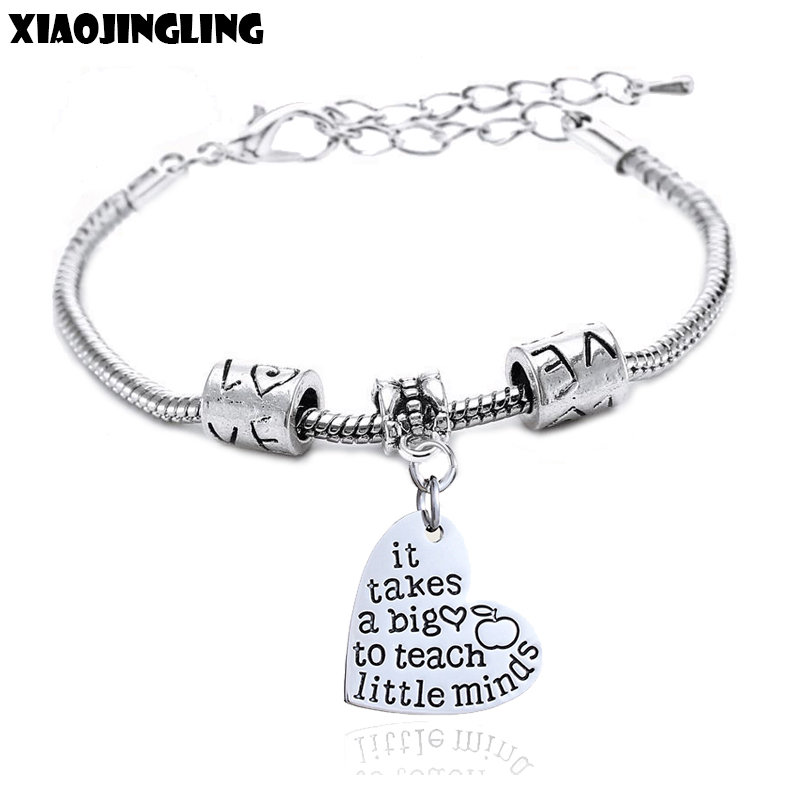 XIAOJINGLING Fashion Bracelet It Takes A Big Heart To Teach Little Minds Teacher s Day Gift Bracelets For Women Jewelry Gifts