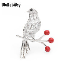 Wuli&baby Zircon Bird On the Branch Brooches Women Gold Silver Color Weddings Brooch Pins Gifts
