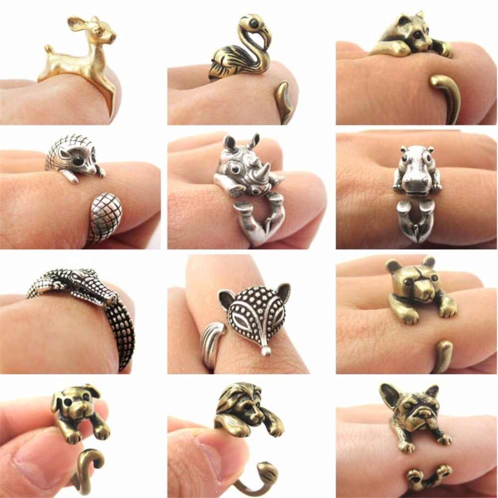 Qiamni Lucu Hewan Kucing Serigala Singa Kelinci Kuda Anjing Gajah Buaya Fox Dinosaurus Cincin Wanita Pria Perhiasan Ulang Tahun Hewan Peliharaan Kekasih hadiah