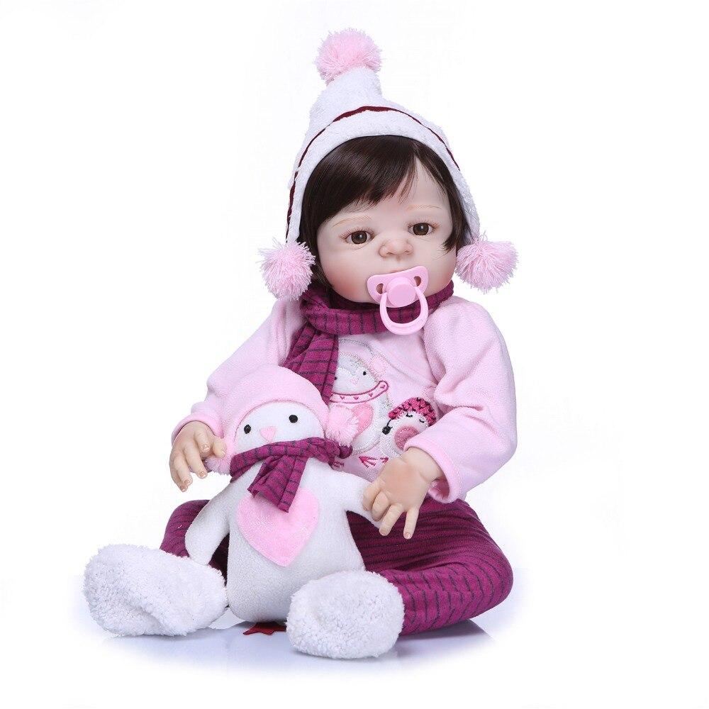 NPKCOLLECTION 57 CM Silicone Reborn poupées vinyle bébé réaliste poupée Reborn enfants cadeau d'anniversaire pour les filles Bebes Reborn-in Poupées from Jeux et loisirs    2