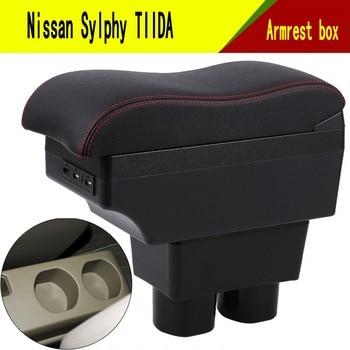Для Nissan Sylphy TIIDA подлокотник коробка центральный магазин хранения содержимого коробка с держателем чашки держатель телефона украшение с USB и...