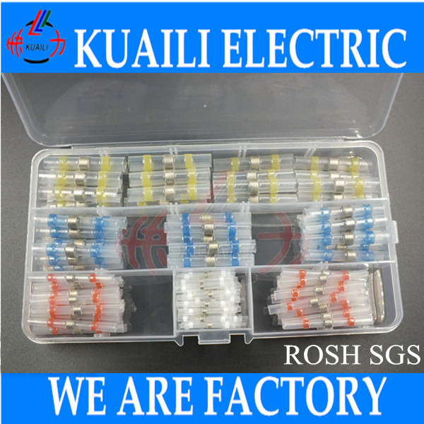 150pcs Heat Shrink Connector butt solder sleeve wire splices AWG 26-24 22-18 16-14 12-10 Heat Shrink Connector butt solder 500 pcs blue heat shrink 16 14 ga butt wire connectors ring terminal free shiping