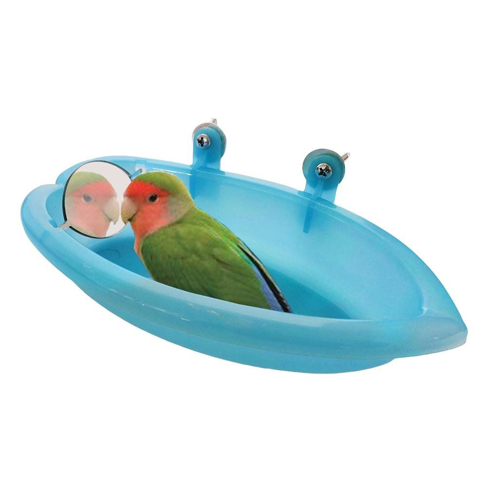 1Pc Cage Mounted Small Bird Parrot Budgie Pet Round Bath Basin Shower Bathtub Kit Parrot Bird Bathtub Parrot Bathing Supplies