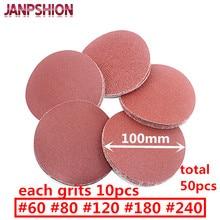 "JANPSHION 50pc red round Sandpaper Flocking Self-adhesive Sanding paper for Sander 4"" 100mm Grits 60 80 120 180 240"