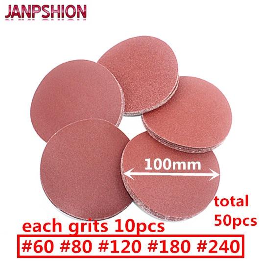 """JANPSHION 50 vnt. Raudonas apvalus švitrinis popierius, lipnus, lipnus šlifavimo popierius, skirtas šlifuokliui 4 """"100 mm šlifuoti 60 80 120 180 180 240"""