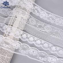10 jardas/lote 13mm-165mm laço branco fita guarnição diy bordado rendas guarnições para costura decoração africano tecido de renda