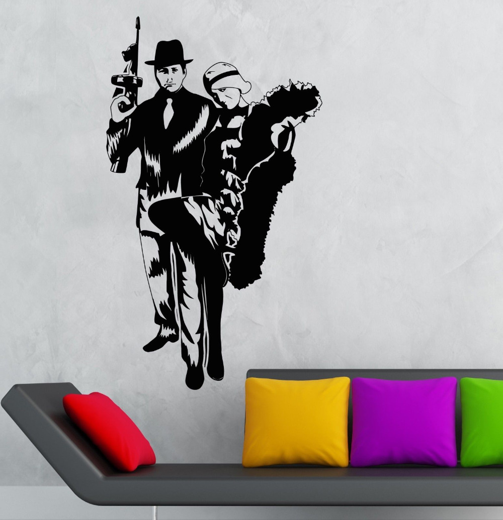 Cool Vinyl Decal Gangster Sexy Girl Mafia Gun Kids Room Wall - Cool wall stickers to complete kids room decor