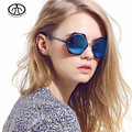 Ms. retro flor redonda de metal óculos de sol UV óculos de sol óculos de sol Brilhante refletindo espelho 1125