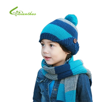 Warm Winter Baby Hat Scarf Kid Hats Set Knitting Cap Boys Fashion Beanie Wholesale Free Shipping