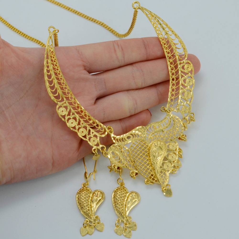 8892c8b76f Anniyo Dubai Jewelry sets Necklace Earrings Gold Color Arab Wedding Jewelry  Ethiopian Africa Best Gifts Middle East #007712-in Bridal Jewelry Sets from  ...