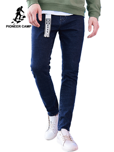 Image 1 - Pioneer Camp New arrival dark blue skinny men jeans brand clothing fashion feet pants male top quality denim trousers ANZ707023