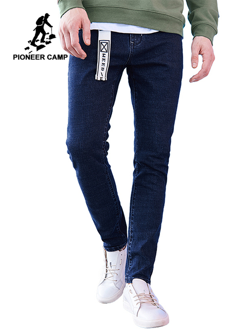 Pioneer Camp New arrival dark blue skinny men jeans brand clothing fashion feet pants male top quality denim trousers ANZ707023