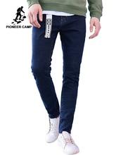 Tiên phong Trại Mới đến màu xanh đậm người đàn ông gầy quần jean thương hiệu quần áo thời trang chân quần nam hàng đầu chất lượng denim quần ANZ707023