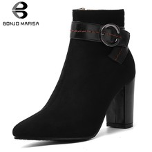 BONJOMARISA New Design Hot Sale Plus Size 32-46 Chunky Heels Shoes Woman Boots Lady Office Zipper Ankle Boots Woman Shoes Women(China)