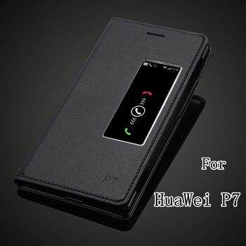 6897a440f6d Slim bolsa de cuero de PU Flip funda para Huawei Ascend P7 de dormir y  despertar ventana inteligente caso