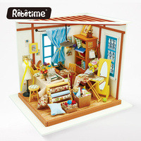 Robotime DIY Doll House With Light 3D Wooden Puzzle Handmade Crafts Girls Gifts Mini Tableware American